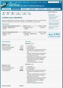 Availability on AirTran's Website