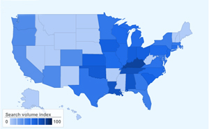 Honeymoon destination searches by state in 2011