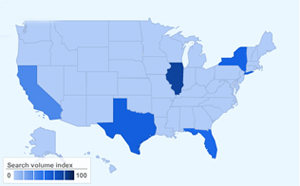 "Most searches for ""honeymoon destinations"" in 2012 by state."