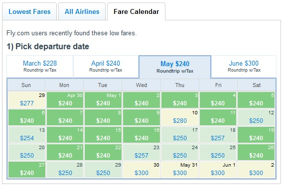 Fly.com Low Fare Calendar