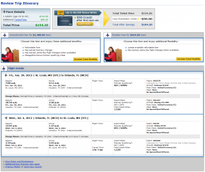 United.com Confirmation Page: $154-$156 -- St. Louis to Orlando (Roundtrip including taxes)