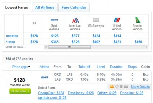 Fly.com Search Results - $128 -- Chicago to Las Vegas (Roundtrip incl. tax)