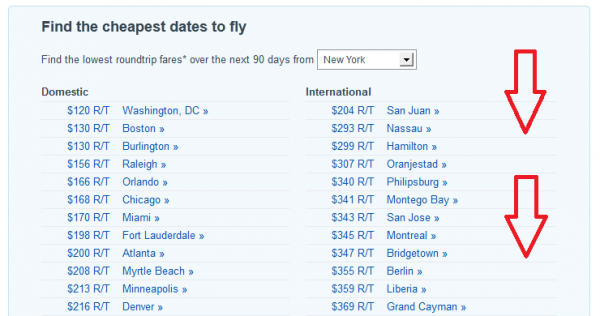 List of Best Fares Available from New York City