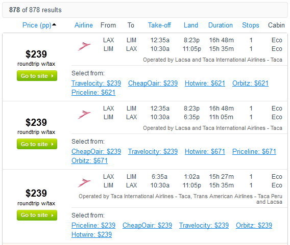 Fly.com Search Results -  $239 Los Angeles to Lima Peru (R/T incl. Tax)