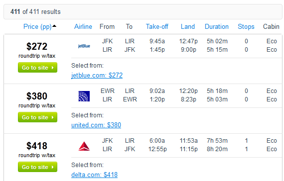Fly.com Search Results - $271 -- NYC to Liberia, Costa Rica Nonstop