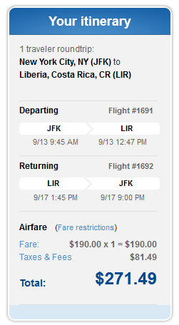 JetBlue Confirmation Page - $271 -- NYC to Liberia, Costa Rica Nonstop