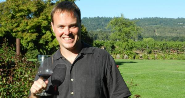 Derek with Wine Glass at Raymond Vineyards