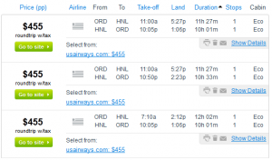 Fly.com Search Results - $455 -- Chicago to Honolulu (R/T incl. Tax)