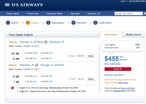 US Air Booking Page - $455 -- Chicago to Honolulu (R/T incl. Tax)