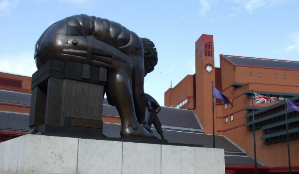 Statue in front of British Library