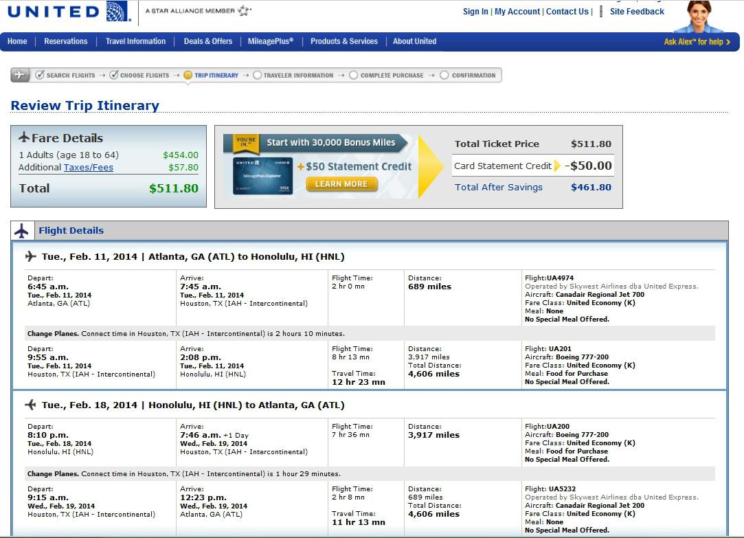 508 533 Atlanta Detroit Amp More To Hawaii Roundtrip