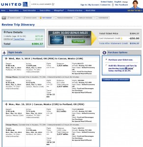 $385 -- Portland to Cancun: United Booking Page