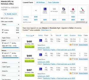 Fly.com Results: $495 -- Atlanta to Honolulu (R/T incl. Tax)