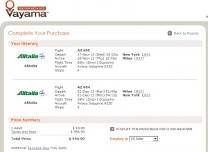 Vayama Booking Page: $595 -- NYC to Milan Nonstop (R/T incl. Tax)