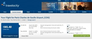 $382 -- Houston to Paris (R/T incl. Tax): Travelocity Booking Page