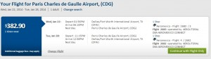 $383 -- Dallas to Paris (R/T incl. Tax): Travelocity Booking Page
