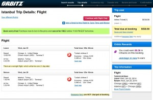 Orbitz Booking Page: $539 -- Chicago to Istanbul (R/T, incl. Tax)