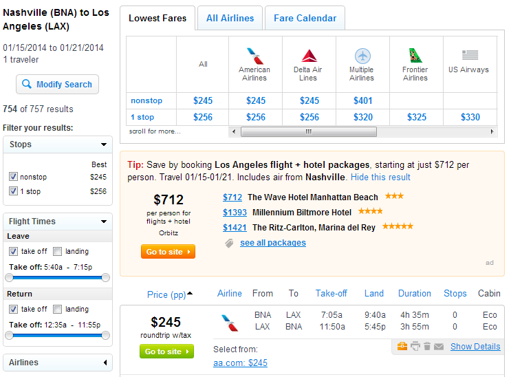Nashville to Los Angeles: Fly.com Results Page