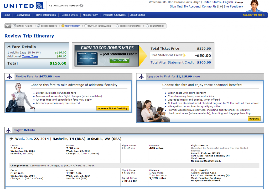 Nashville to Seattle: United Booking Page