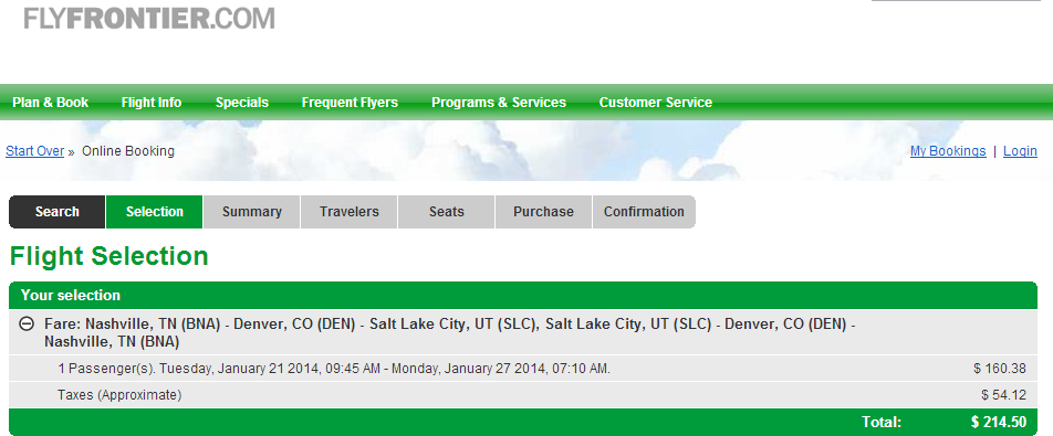 Nashville to Salt Lake City: Frontier Booking Page