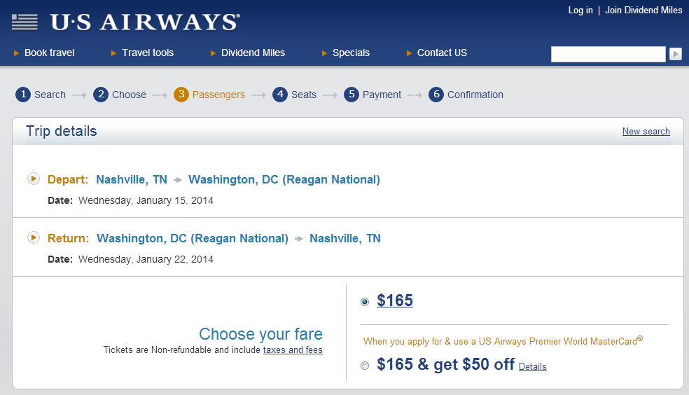 Nashville to D.C.: US Airways Booking Page