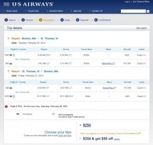 Boston-St. Thomas US Air Booking Page