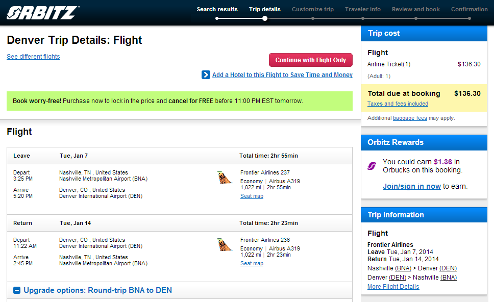 Nashville to Denver: Orbitz Booking Page Results