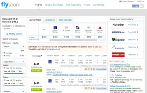 $450 -- Dallas to Honolulu: Fly.com Results