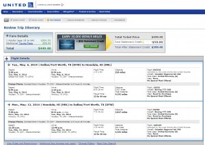 $450 -- Dallas to Honolulu: United Booking Page
