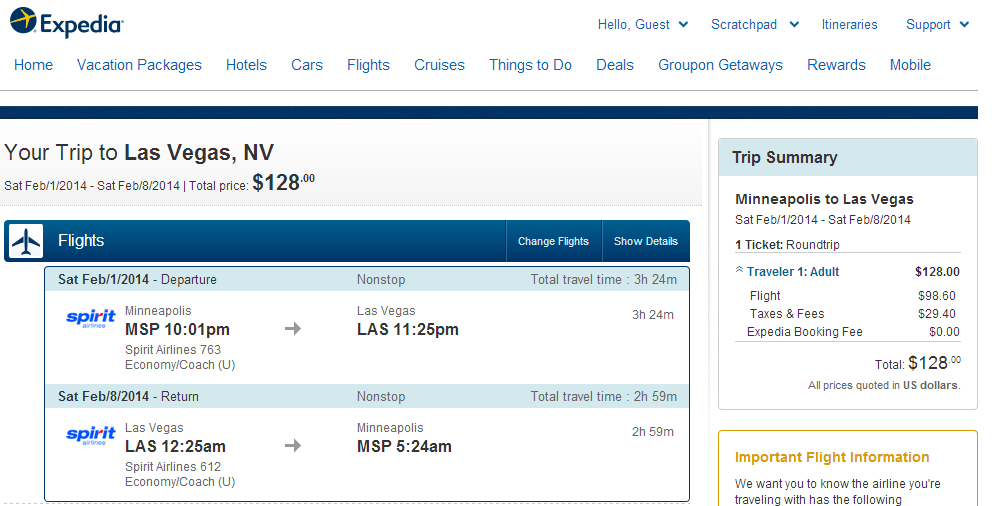 Expedia Booking Page: Minneapolis to Las Vegas