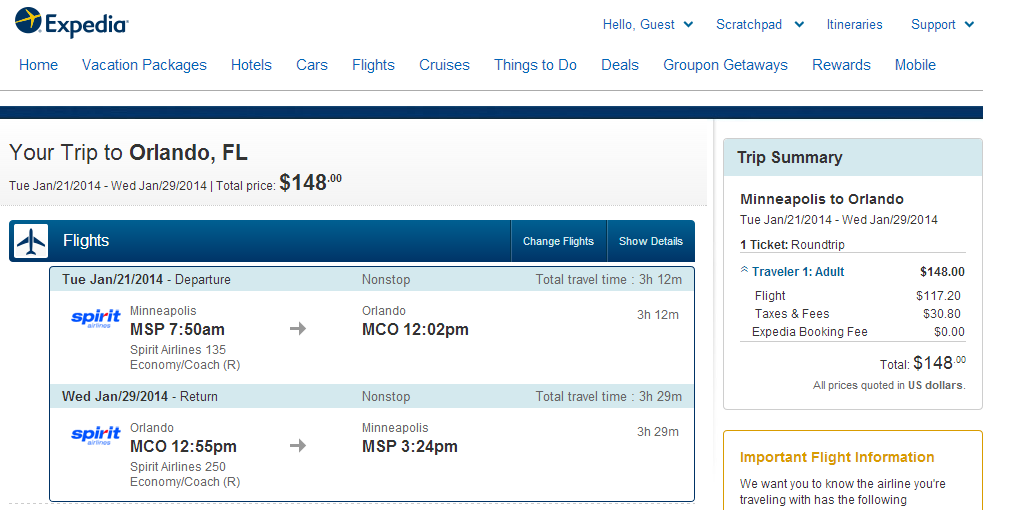Expedia Booking Page: Minneapolis to Orlando