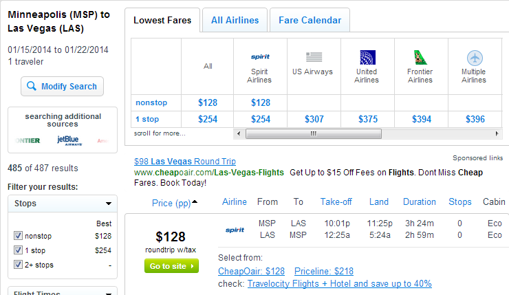 Fly.com Results Page: Minneapolis to Las Vegas