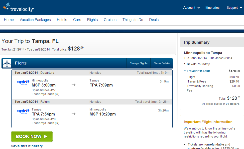 Travelocity Booking Page: Minneapolis to Tampa