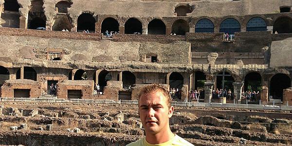 Guide Sean Egan at the Colosseum (David Wishart)