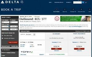 Boston-St.Thomas: Delta Booking Page