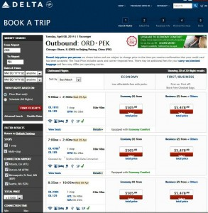 Chicago-Beijing: Delta Air Lines Booking Page
