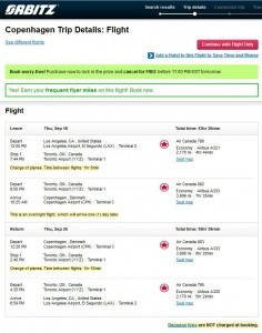 Los Angeles to Copenhagen: Orbitz Booking Page