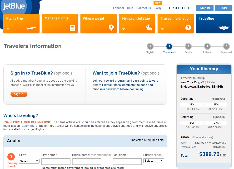 JetBlue Booking Page: NYC to BGI