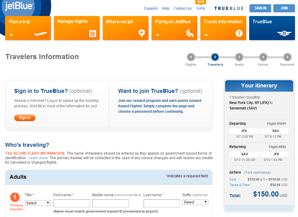 JetBlue Booking Page: NYC to Savannah