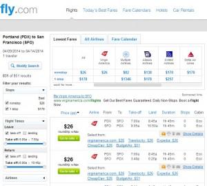 Portland to San Francisco: Fly.com Results