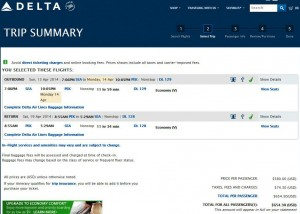 Seattle-Beijing: Delta Booking Page