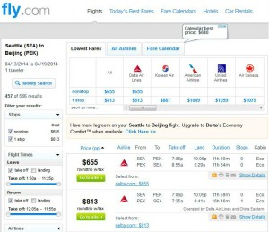 Seattle-Beijing: Fly.com Search Results