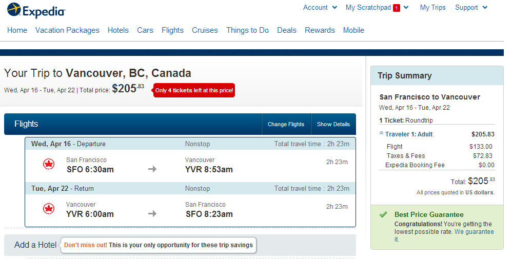 Expedia Booking Page: SFO to YVR