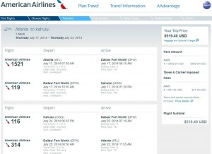 Atlanta-Kahului, Maui: American Airlines Booking Page
