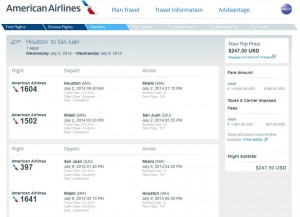 Houston to San Juan: American Airlines Booking Page
