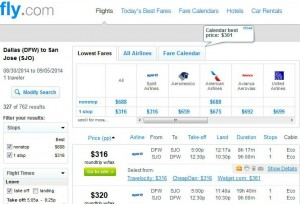 Dallas-San Jose: Fly.com Search Results