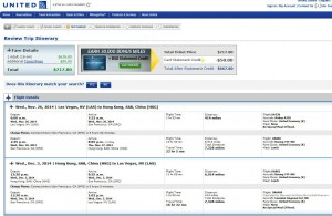 Las Vegas-Hong Kong: United Airlines Booking Page