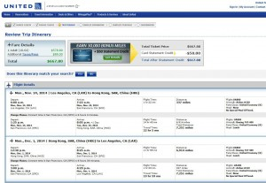 Los Angeles-Hong Kong: United Booking Page