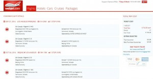 Los Angeles-Beijing: Webjet Booking Page