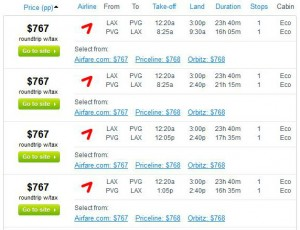 Los Angeles-Shanghai: Fly.com Search Results